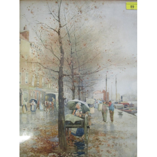 89 - J.R.Miller - wet autumn day by the river with horse and carriages and figures on the embankment and ...
