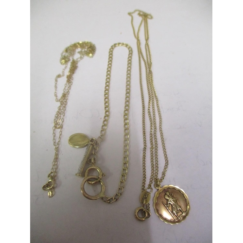 9 - Two 9ct gold necklaces and a 9ct gold bracelet 6.9 grams Location: CAB...