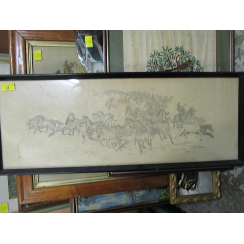 94 - Pictures and mirrors to include embroideries, a Japanese print of horses, various other prints and w...