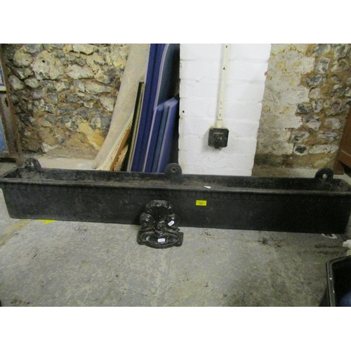 108 - A cast iron wall hanging window box, cased name to reverse for T Elsley No 94, 54 1/2