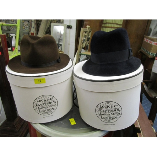 74 - Two Locke & Co ladies and a gentlmans hat felt hats with Lock & Co hat boxes Location: RWB...