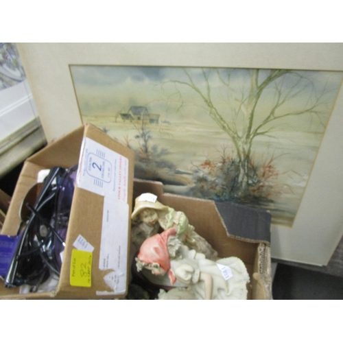 82 - Pictures, ceramics and decorative items to include a Wedgwood blue Jasper vase, composition figures ...