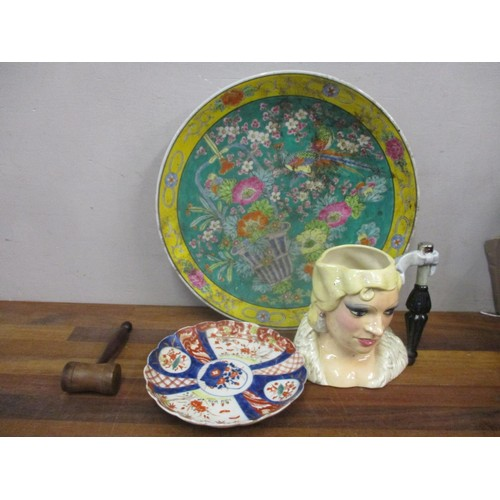 48 - Japanese porcelain wall chargers, a pottery character jug and a wooden gavel Location: RWB...