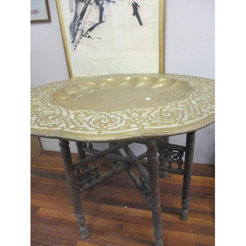 223 - A Persian brass tray table, folding treen stand, A/F Location: RAM...
