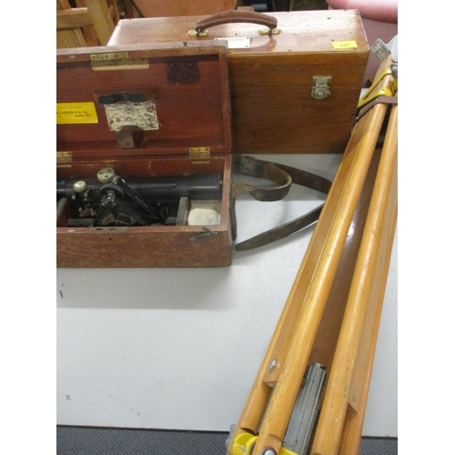 337 - A Theodolite and tripod and a stereoscope in a case Location: BR...