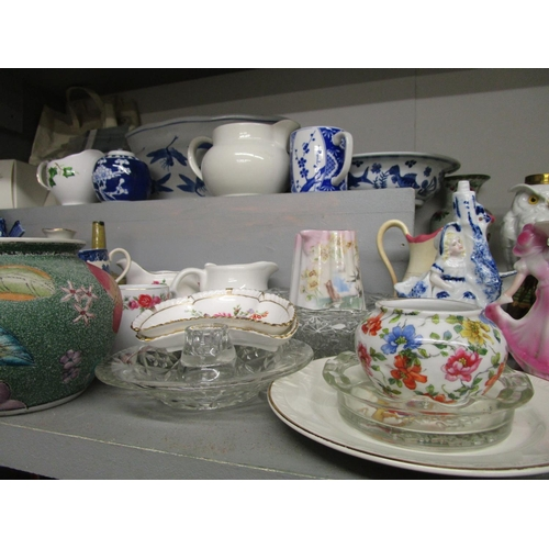341 - A mixed lot of ceramics to include an early 20th century porcelain model of an owl in the form of an...