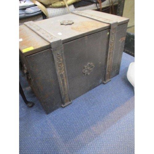 369 - A metal coal chest with lead lining, together with a vintage school chest containing Dunlop, Slazeng...