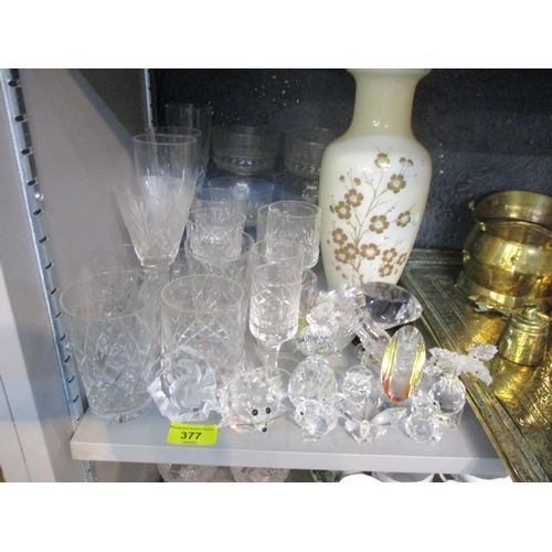 377 - Mixed domestic glass including Royal Doulton wine glasses, a painted vase and mixed crystal ornament...