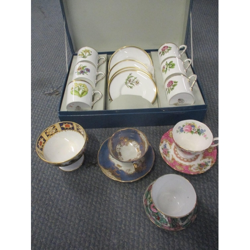 383 - A cased Royal Worcester Polyanthus coffee set, together with mixed teacups and saucers Location: C...