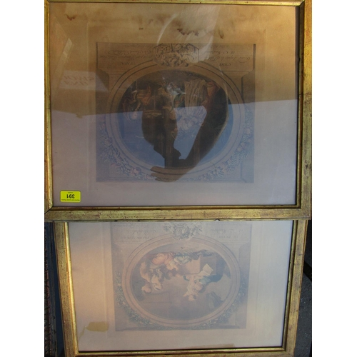 391 - Two 19th century French coloured engraved prints 15