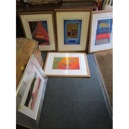 393 - A framed and glazed watercolour, signed limited edition prints, and various pastel studio portrait s...