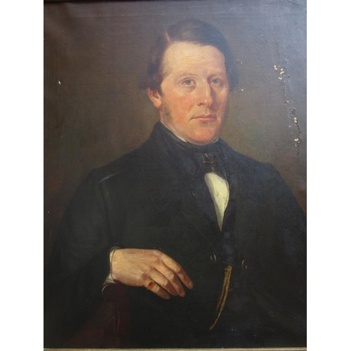 395 - English School - a 19th century portrait of a gentleman with a gold and ruby ring on his right hand,...