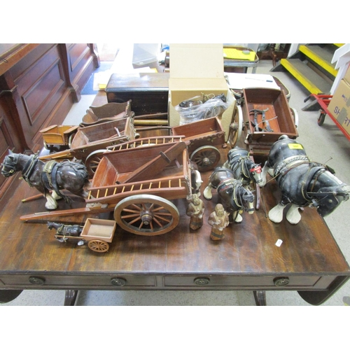 397 - A collection of Melba ware and other model cart horses and wooden carts Location: G...