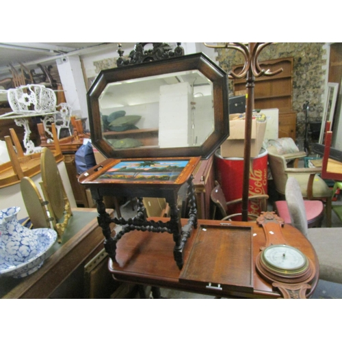 398 - Small furniture to include a Victorian carved oak hall chair, a mirror, two trays and an aneroid bar...