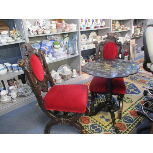 401 - A set of six Victorian Gothic style carved oak dining chairs with bright red upholstered seats and b...