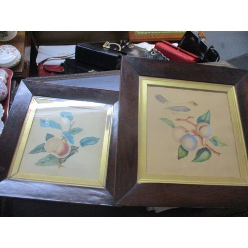 378 - A mixed lot to include an oriental tray, mixed metalware and china and two framed prints of fruit tr...