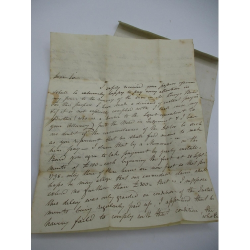 137 - A two page handwritten letter to a Robert Smith form Sir Walter Scott with regards to an unpaid bond...