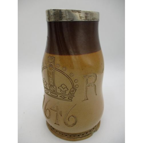 140 - A Doulton Lambeth stoneware World Columbian Exposition jug, decorated with portraits in relief of Ge...