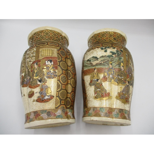 16 - A pair of late 19th century Japanese Satsuma vases of lobed form decorated with panels of figures in...