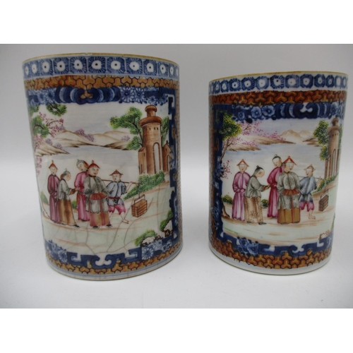 2 - Two similar late 18th century Chinese Qing Dynasty export tankards, decorated with a panel of figure...