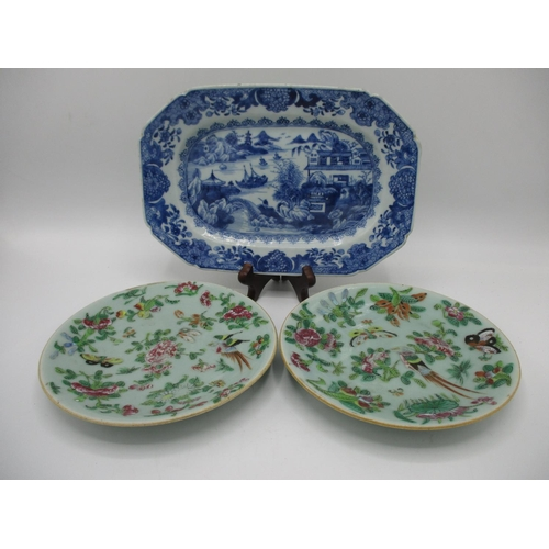 4 - A late 18th century Chinese blue and white dish of rectangular form with canted corners, decorated w...