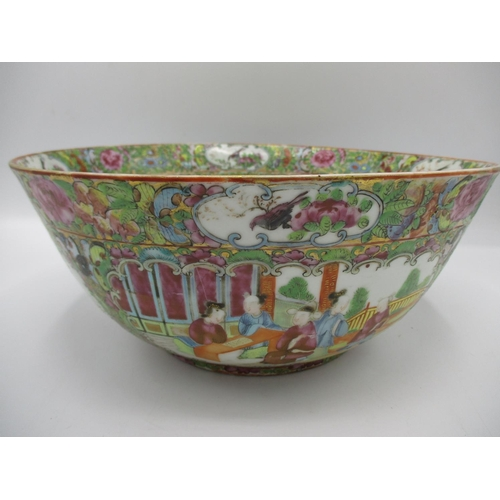 5 - A 19th century Chinese Canton bowl with flared sides, decorated to the interior and exterior with pa...