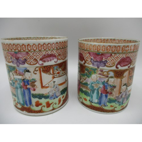 6 - Two similar late 18th century Chinese Qing Dynasty export tankards, decorated with panels of figures...