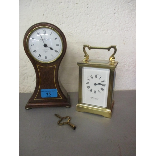 15 - A Gerrard & Co five window carriage clock with key together with a reproduction mantle clock by Knig...