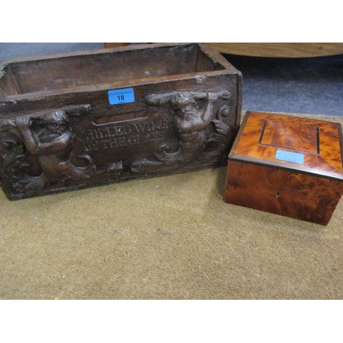 18 - A reproduction carved resin box with the inscription Chilled Wine by the Glass, presented to the own...