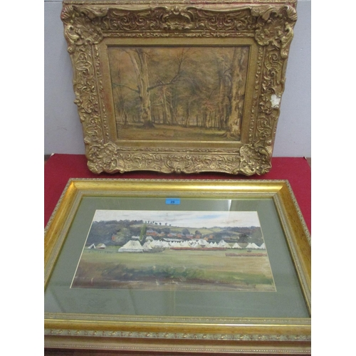 26 - John W**** - 19th century woodland scene watercolour, signed in a gilt frame and a view at Runny Mea...