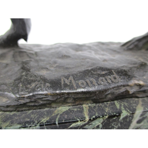 279 - Louis de Monard - bronze model of a wild boar, signed to the base, on a green mottled marble plinth ...
