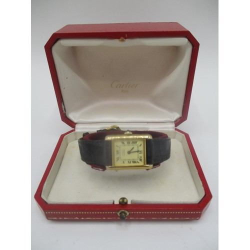 277 - A Must de Cartier, silver gilt manual wind ladies watch having sapphire inset crown, the case back i...