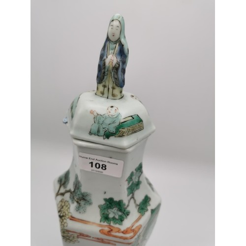 108 - A Chinese famille vert porcelain lidded vase, 18th century, the hexagonal body applied with polychro...