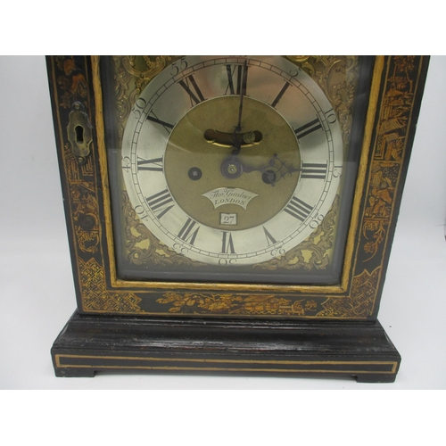 280 - A mid 18th century bracket clock by Thomas Gardner, London, a bell top Japanned case, the arched top...