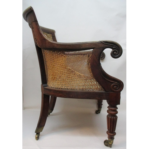 224 - A Regency rosewood library chair with a scrolled crest and arms, caned back and sides, on turned, ta...