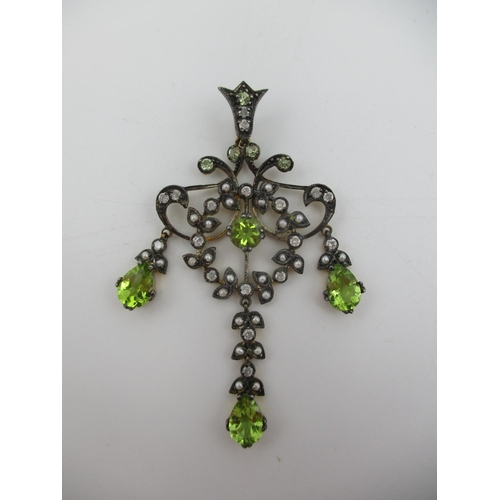 257 - An Edwardian style chandelier design pendant, set with periods, diamonds an seed pearls Location: CA...