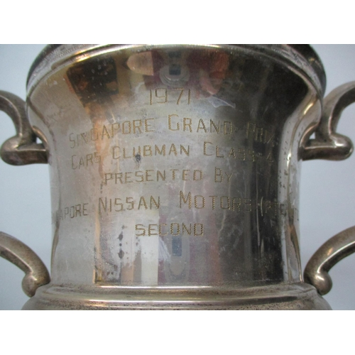 276 - Three silver plated car racing trophies two engraved 1971 Singapore Grand Prix Cars Clubman presente...