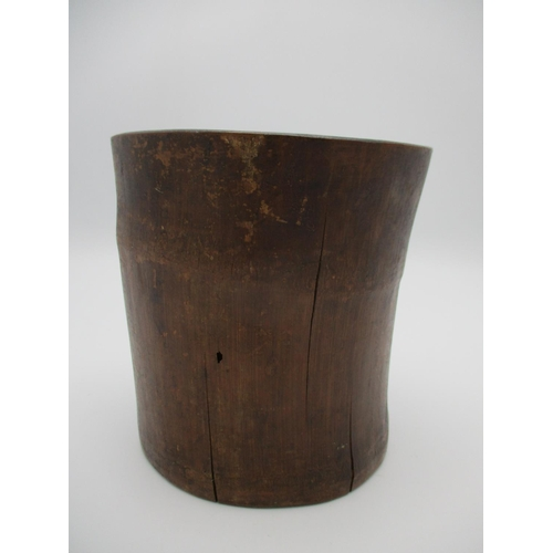29 - A 19th century Chinese carved bamboo brush pot decorated with figures in a boat, with mountains and ...