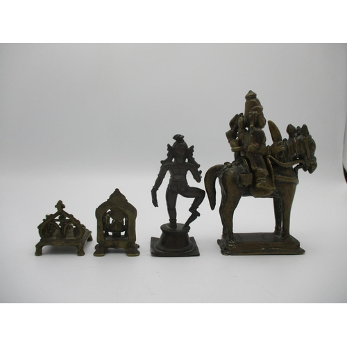 47 - Four 18th/19th century Indian bronze figures, Ganash on a plinth with a back, 2 1/2