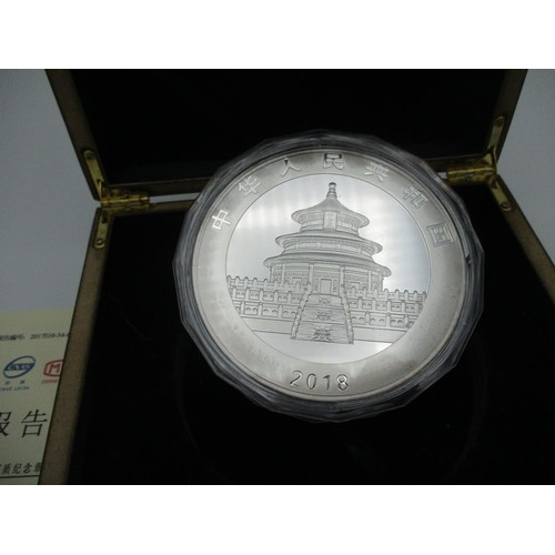 104 - This lots has been withdrawn     The Commemorative Silver Coin of Chinese Panda 2018, 1000 grams box...
