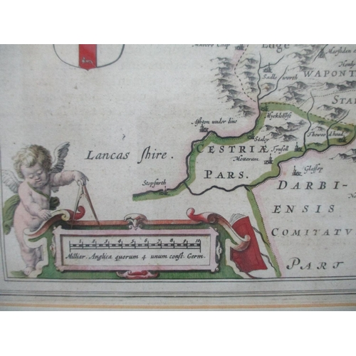 120 - A Blaeu map of Yorkshire with inset crests, 15 1/2