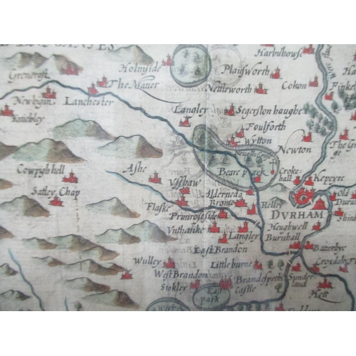 121 - A map of The Bishoprick and Citie of Durham, possibly by John Speed with an inset plan of Durham, ha...
