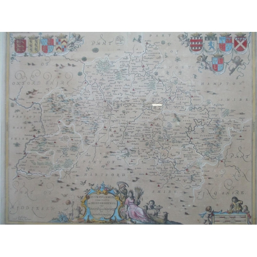 123 - A Joannem Janssonium map of Buckinghamshire and Bedfordshire with inset crests, hand coloured, 16