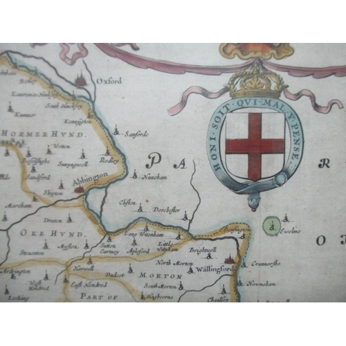 125 - A Johannes Blaeu map of Berkshire with inset crests, hand coloured, 15