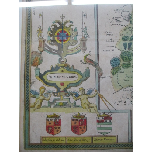 128 - A John Speed map of Rutlandshire with inset  plans of Oukham and Stanford, sold by Thomas Basett in ...