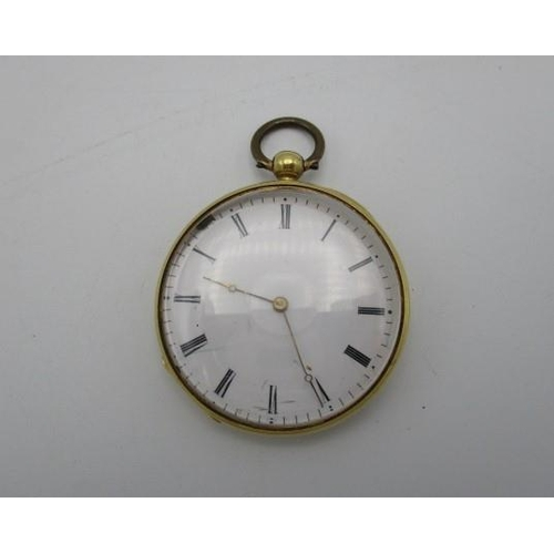 134 - A Hungarian gold cased fob watch engraved with a view of a building through arches, an enamelled dia...