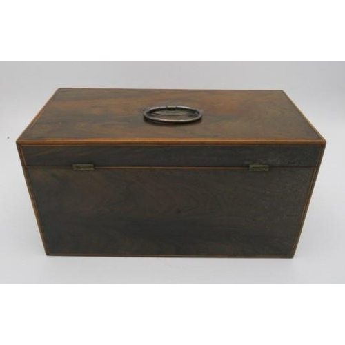 144 - A George III boxwood and ebony string, inlaid exotic hardwood tea caddy with a silver plated ring ha...