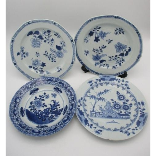 18 - Three late 18th century Chinese plates and a dish comprising a pair decorated with flowers and the o...