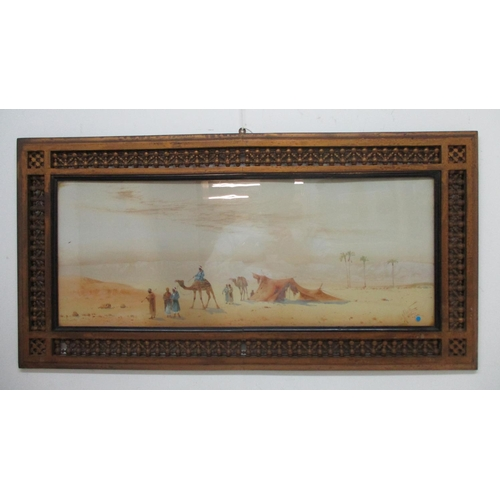 195 - Henry Stanton Lynton -1886-1900, three desert scenes, two with figures, camels, a lake, trees and bu...