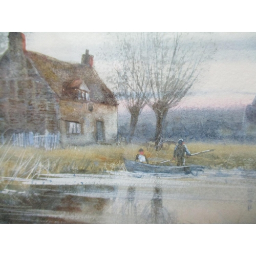 196 - Robert Winchester Fraser 1848-1906 -Thatham, Berks, a river scene with two figures in a punt and bui...